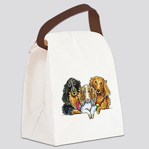 3 Longhaired Dachshunds Canvas Lunch Bag